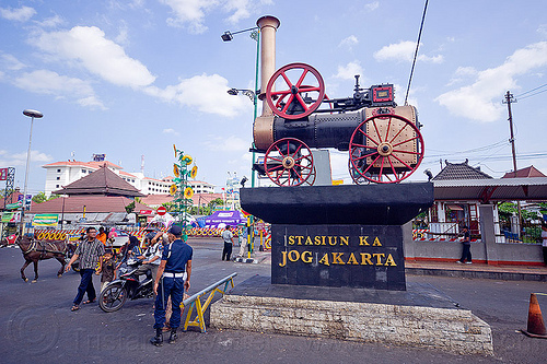yogyakarta train station, java, jogja, jogjakarta, marshall, monument, portable engine, portable steam engine, railroad, railway, steam train engine, street, train station, yogyakarta