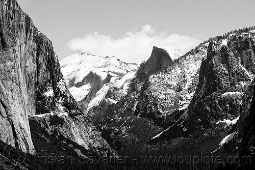 yosemite valley from tunnel viewpoint (black and white), cliff, el capitan, half-dome, mountains, rock face, winter, yosemite national park, yosemite valley