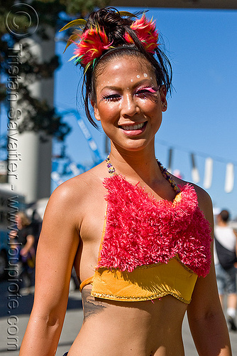young asian woman with fuzzy costume, asian woman, burning man decompression, costume, eyelashes extensions, fuzzy bra, fuzzy ears, jane, people, tattooed, tattoos