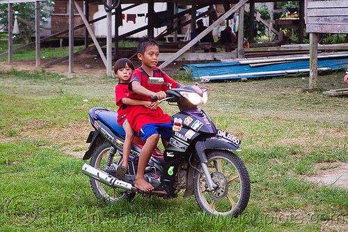 young kids riding motorbike, borneo, children, gunung mulu national park, kids, malaysia, rider, riding, underbone motorcycle, yamaha