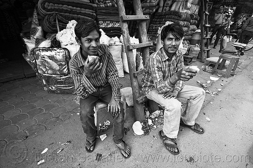 young men drinking chai, chai, delhi, drinking, india, men, milk tea, paharganj, sitting, spice tea, store, wooden ladder
