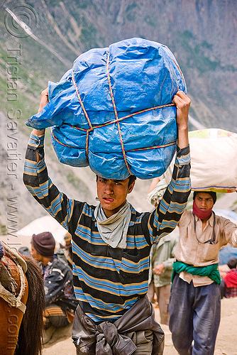 young porter carrying heavy load on his head - amarnath yatra (pilgrimage) - kashmir, amarnath yatra, bag, bearer, blue, carrying on the head, hiking, hindu pilgrimage, india, kashmir, men, mountain trail, mountains, pilgrim, porter, ropes, tarp, trekking, wallah