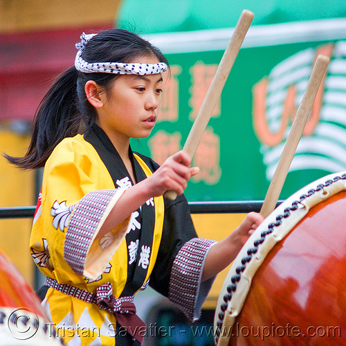 young taiko drummer girl, chinese new year, drummer, drumming, drumsticks, genryu arts, japanese drums, lunar new year, taiko dojo