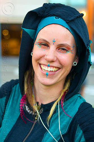young woman in elf costume, bindis, brittany, fire dancer, fire dancing expo, fire performer, hoodie, hoody, makeup, temple of poi, woman