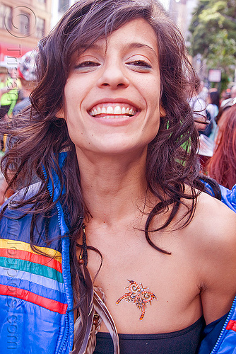 young woman with beautiful smile - how weird street fair (san francisco), adi, breast tattoo, butterfly tattoo, tattooed, tattoos, woman