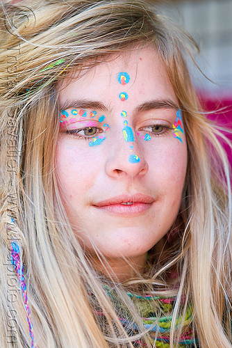 brittany with blue face paint, blonde, haight st, hippie, woman