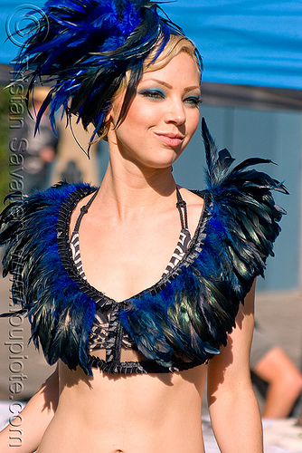 young woman with blue feathers attire - fashion (san francisco), bethany, blue festhers, costume, fashion, feathers, hat, model, woman