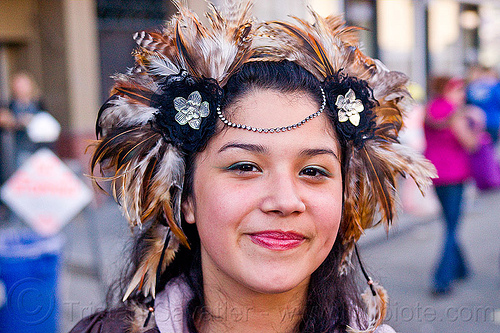 young woman with feather headdress, feather headdress, how weird festival, p-kok, woman