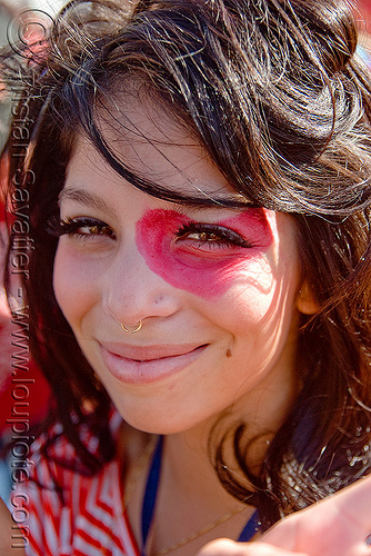 pink eye, facepaint, festival, kandi kid, kandi raver, love fest, lovevolution, pink, plur, woman