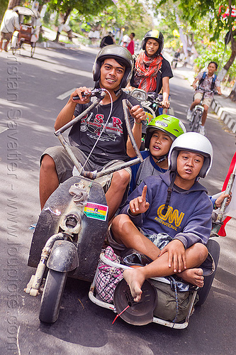 youngsters riding customized vespa sidecar, extreme vespa, indonesia, jogja, motorbike helmets, motorcycle helmets, rider, riding, scooter, scrooter, sidecar, teenagers, teens, yogyakarta, yougster, youngsters