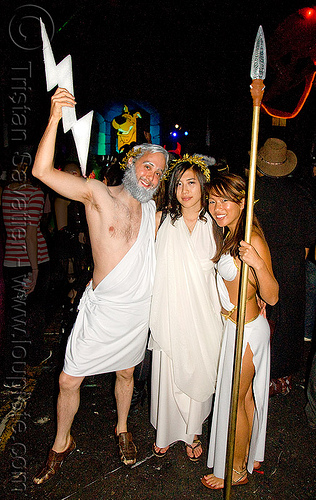 zeus - greek gods - ghostship halloween party on treasure island (san francisco), costume, ghostship 2009, god, goddess, goddesses, greek, halloween, lightning, man, rave party, roman, space cowboys, spear, togas, woman, zeus