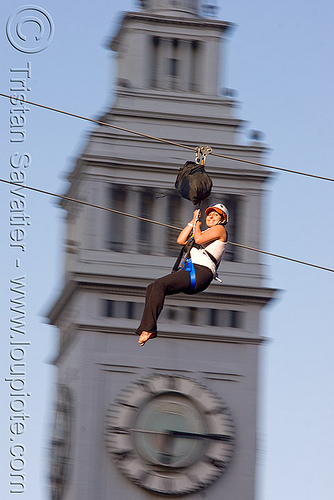 zip-line over san francisco, adventure, blue sky, cable line, cables, campanil, climbing helmet, clock tower, embarcadero tower, extreme sport, ferry building, gear, hanging, harness, justin herman plaza, mountaineering, moving fast, speed, steel cable, trolley, tyrolienne, urban, zip line, zip wire, ziptrek