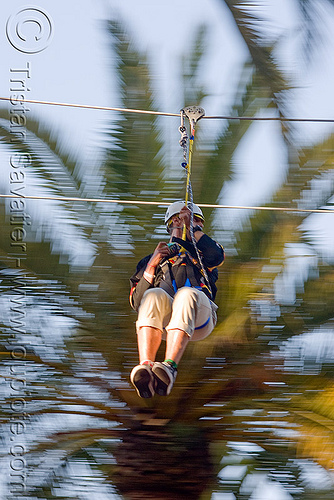 zip-line over san francisco, adventure, blue sky, cable line, cables, climbing helmet, embarcadero, hanging, mountaineering, moving fast, palm trees, speed, steel cable, trolley, tyrolienne, urban, zip line, zip wire
