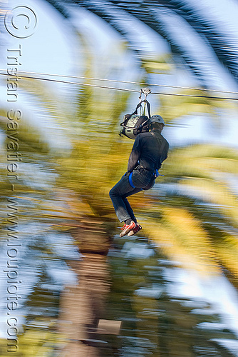 zip-line over san francisco, adventure, blue sky, cable line, cables, climbing helmet, embarcadero, extreme sport, gear, hanging, harness, justin herman plaza, mountaineering, moving fast, palm trees, people, speed, steel cable, trolley, tyrolienne, urban, zip line, zip wire, ziptrek