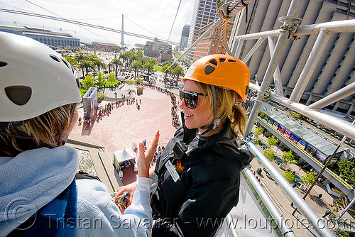 zip-line over san francisco, adventure, cable line, cables, climbing helmet, embarcadero, extreme sport, gear, hanging, harness, justin herman plaza, mountaineering, nat, steel cable, tower, trolley, ty, tyrolienne, urban, zip line, zip wire, ziptrek