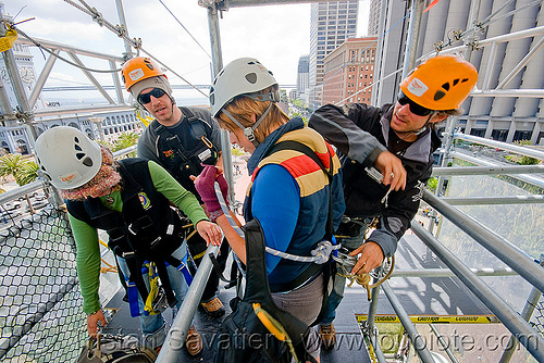 zip-line over san francisco, adventure, cable line, cables, climbing helmet, embarcadero, hanging, jessika, mountaineering, steel cable, tower, trolley, tyrolienne, urban, woman, zip line, zip wire