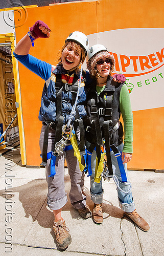 zip-line over san francisco, adventure, climbing helmet, embarcadero, extreme sport, gear, harness, jessika, justin herman plaza, mountaineering, people, steel cable, trolley, tyrolienne, urban, woman, zip line, zip wire, ziptrek
