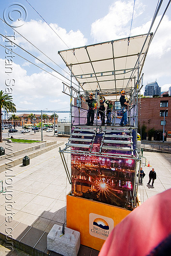zip-line over san francisco, adventure, arrival, cable line, cables, climbing helmet, embarcadero, extreme sport, gear, hanging, harness, justin herman plaza, mountaineering, people, steel cable, tower, trolley, tyrolienne, urban, zip line, zip wire, ziptrek