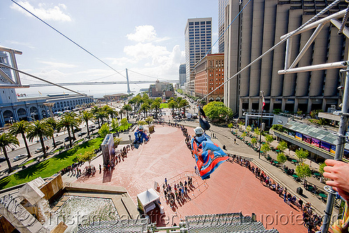 zip-line over san francisco, adventure, cable line, cables, climbing helmet, embarcadero, hanging, mountaineering, steel cable, tower, trolley, ty, tyrolienne, urban, zip line, zip wire