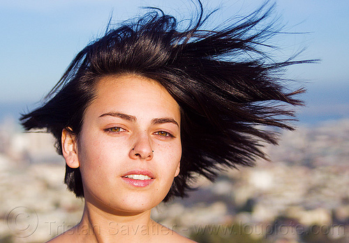 zoey - outdoor portrait of young woman, nose piercing, nostril piercing, wind, woman