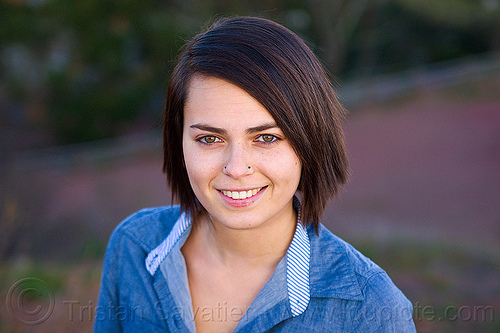 zoey - outdoor portrait of young woman, nose piercing, nostril piercing, woman