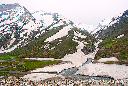 zojila pass - drass river - drass valley - leh to srinagar road - kashmir, dras valley, drass river, drass valley, india, kashmir, mountains, snow, zoji la, zoji pass, zojila pass