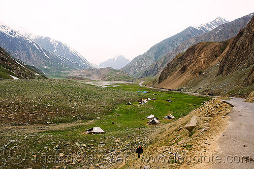 zojila pass - drass valley - leh to srinagar road - kashmir, camping, dras valley, drass valley, encampment, grass, kashmir, kashmiri gujjars, medow, mountains, muslim, nomads, road, tents, turf, zoji la, zoji pass, zojila pass