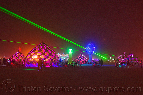 zonotopia at night - burning man 2012, burning man, green laser, night, zomes, zonotopia