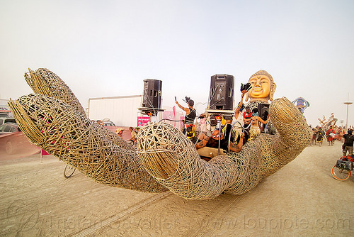zulai hand art car - burning man 2016, bamboo hand, buddha art car, buddha hand art car, burning man, chinese, giant hand, mazu camp, zulai art car, zulai hand