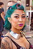 gabriela starchild - woman with blue hair - purple lipstick, blue hair, folsom street fair, gabriela starchild, gaby, metal, necklace, purple lipstick, shoulder tattoo, tattoos, woman