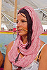 woman with nose chain, burning man, center camp, gold jewelry, headwear, jill, nose chain, nose jewelry, nose piercing, nose ring, nostril piercing, pink scarf, woman