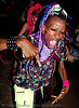 raver with EL-wire through septum piercing, african american man, black man, ignition party, night, penny, rave party, raver outfits
