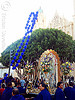 señor de los milagros procession in front of mission dolores church (san francisco), balloon string, blue balloons, church, crowd, lord of miracles, mission dolores, mission san francisco de asís, parade, paso de cristo, people, peruvians, procesión, procession, religion, sacred art, señor de los milagros, street