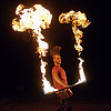 mushroom flames - fire staff, fire dancer, fire dancing, fire performer, fire spinning, fire staff, man, mohawk hair, mushroom flames, night, spinning fire