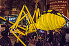 giant yellow spider puppet, day of the dead, dia de los muertos, giant puppet, halloween, night, spider puppet, yellow spider