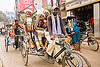 musicians on cycle rickshaw, on their way to a wedding (india), cycle rickshaw, drum, drummer, headdress, headwear, men, moving, music band, musicians, street, turbans, uniform, varanasi, wedding