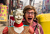 weird couple, couple, dummy head, laughing, man, mannequin, mouth, store dummy, varanasi, woman