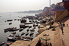 ghats and boats on ganges river - varanasi (india), ganga river, ganges river, ghats, hindu, hinduism, mooring, river bank, river boats, varanasi, water