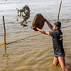 man throwing clay shiva lingas in ganges river (india), clay, ganga river, ganges river, hindu ceremony, hinduism, kumbha mela, lingams, lingas, maha kumbh mela, man, offerings, river bank, shiva, throwing, tray, wading, water