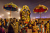 hindu guru in night procession - kumbh mela (india), guru, hindu, hinduism, kumbh maha snan, kumbha mela, maha kumbh mela, mauni amavasya, men, night, procession, street, umbrellas