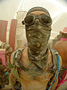 surviving the dust storm in center camp - burning man 2007, bandana, burning man, cat tattoo, center camp, dust storm, gato negro tattoo, goggles, playa dust, tattooed, tattoos, whiteout