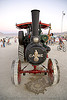kinetic steam works' case traction engine hortense - front view - burning man 2007, art car, burning man, case steam engine, kinetic steam works, ksw, steam tractor, steampunk