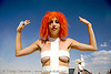 "leeloo dallas ""multipass!"" from the 5th element - burning man 2007, burning man, costume, hair color, leeloo dallas, leeloominaï, multipass, orange hair, tasha, the 5th element, the fifth element, woman"