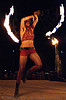 fire performer on the shiva vista stage - burning man 2007, burning man, fire fans, flames, night, shiva vista stage