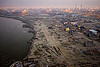 aerial view of kumbh mela 2013 festival winding down (india), aerial photo, dawn, ganga river, ganges river, hindu, hinduism, kumbha mela, maha kumbh mela, river bank, tents, water