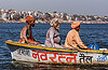 naga sadhu on small boat on the ganges river - varanasi (india), babas, ganga river, ganges river, hindu, hinduism, holy ash, men, naga baba, naga sadhu, pilgrims, river boat, sacred ash, sadhus, varanasi, vibhuti, water