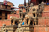stair to the nyatapola temple - tachupal tole - bhaktapur (nepal), bhaktapur, hindu temple, hinduism, nyatapola temple, stairs, statue, steps, stone elephants, stone lions, tachupal tole