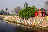 hindu cenotaphs on ghat - river (india), cenotaphs, ghats, hindu, hinduism, monument, river bank, temple, water