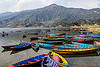 colorful boats on pokhara lake (nepal), lake, mooring, mountains, pokhara, river boats, water