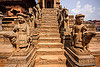 stone stair to temple - bhaktapur durbar square (nepal), bhaktapur, durbar square, hindu temple, hinduism, sculptures, stairs, statues, steps, stone